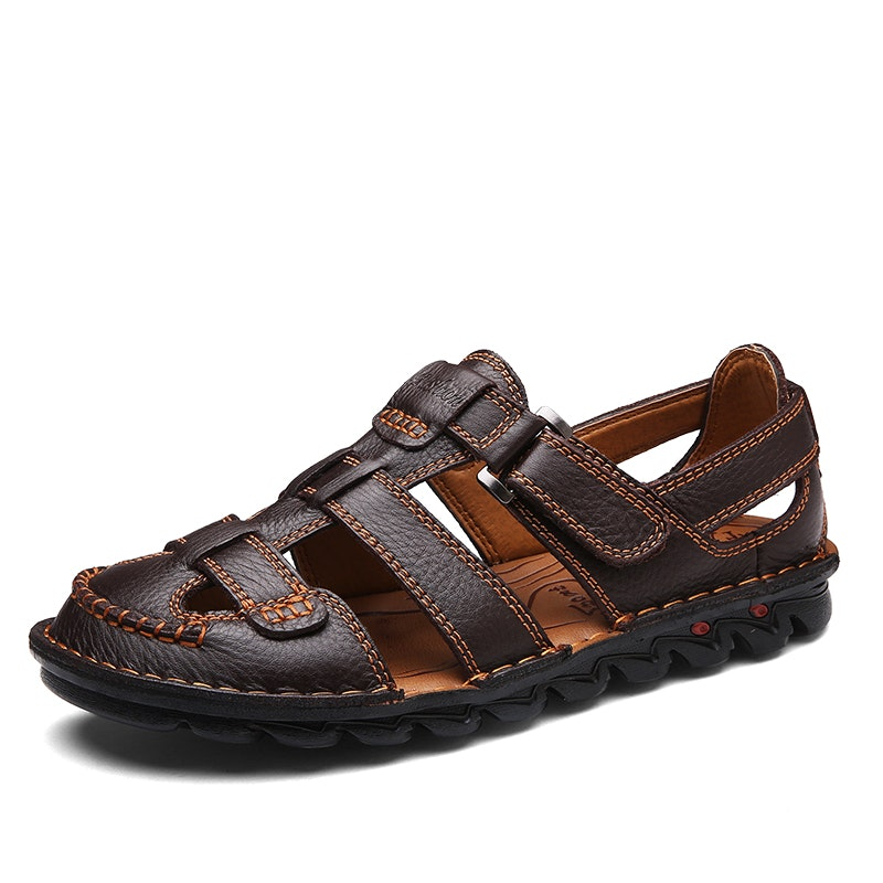 Men Genuine Leather Hand Stitching Non-Slip Large Size Casual Sandals