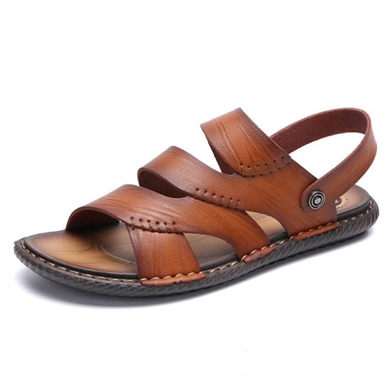 Men Open Toe Breathable Soft Water Friendly Leather Sandals