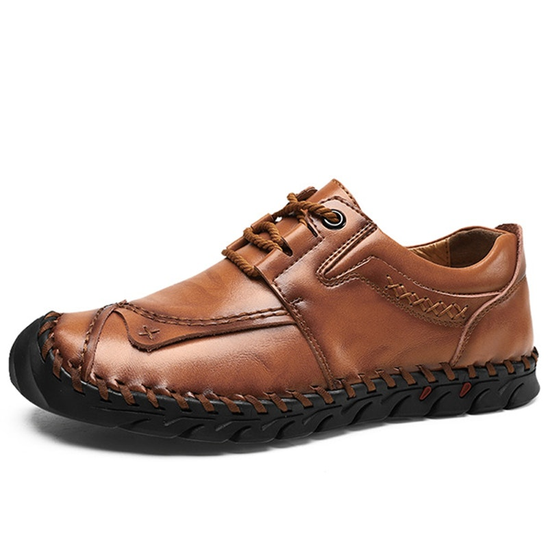 Men's Four Seasons Lace-up Handmade Leather Driving Shoes