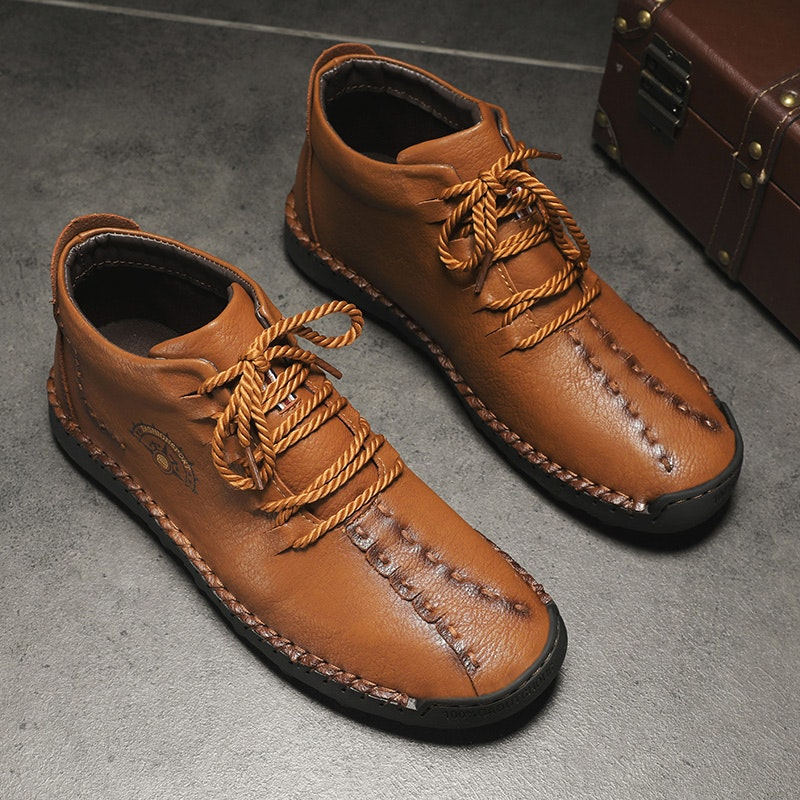 Men's Autumn-Winter Handmade Lace-up Synthetic Leather Ankle Boots
