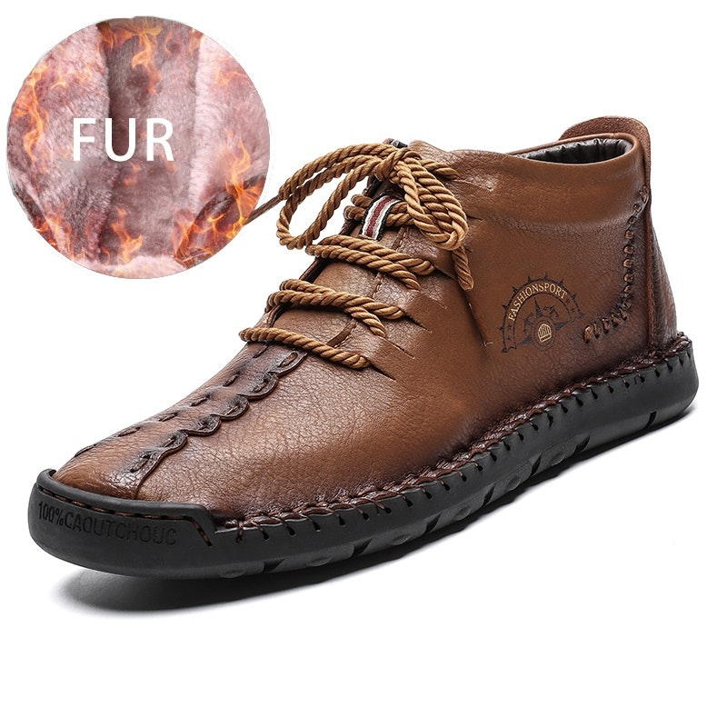 Men's Autumn-Winter Lace-up Comfy Fur-lined Microfiber Leather Ankle Boots