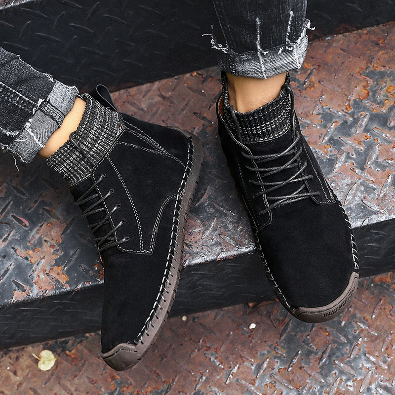 Men's Autumn-Winter Comfy Hand Stitching  Suede Casual Boots