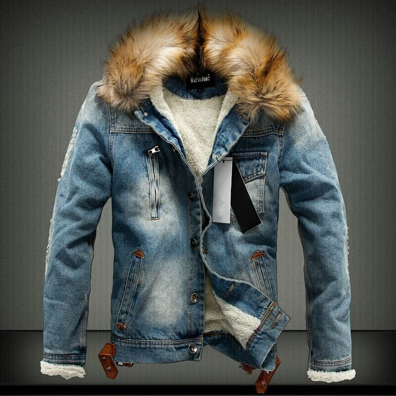 Men's Sherpa-line Fur Collar Denim Blazers Jacket
