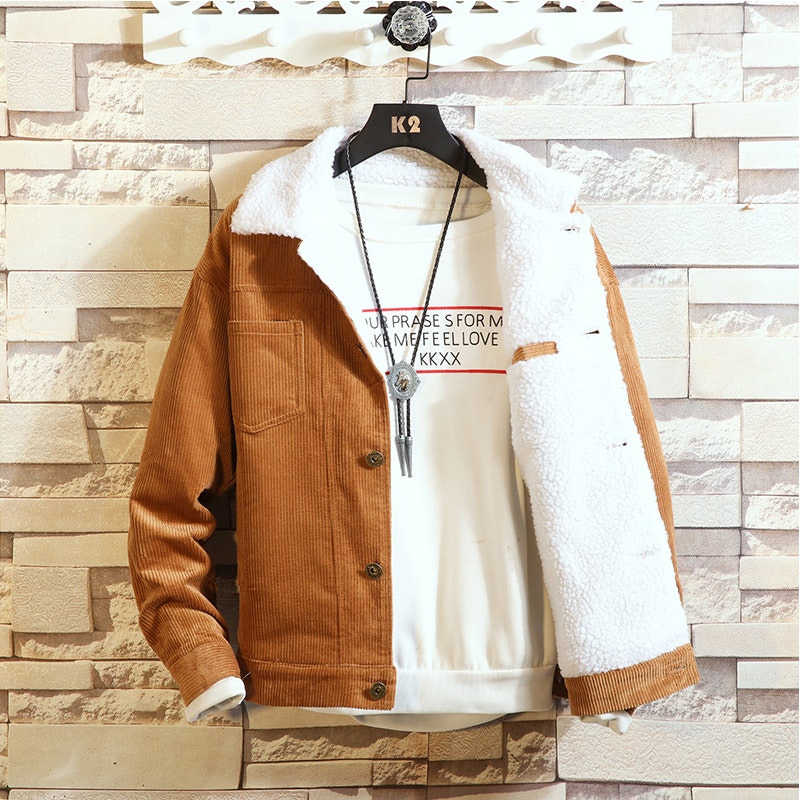 Men's Plain Thickened Corduroy Long Sleeve Coat