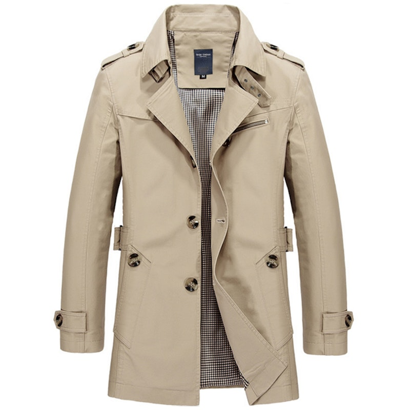 Men's Washed Turndown Collar Cotton Trench Coat