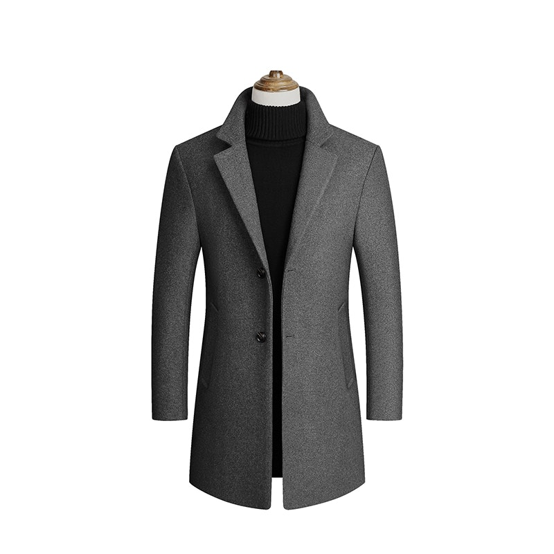 Men's Winter Thickened Mid-Length Single Breasted Trench Coat