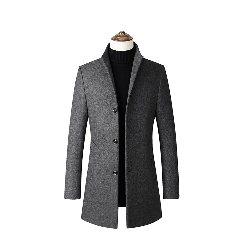 Men's Winter Thickened Mid-Length Slim Fit Trench Coat