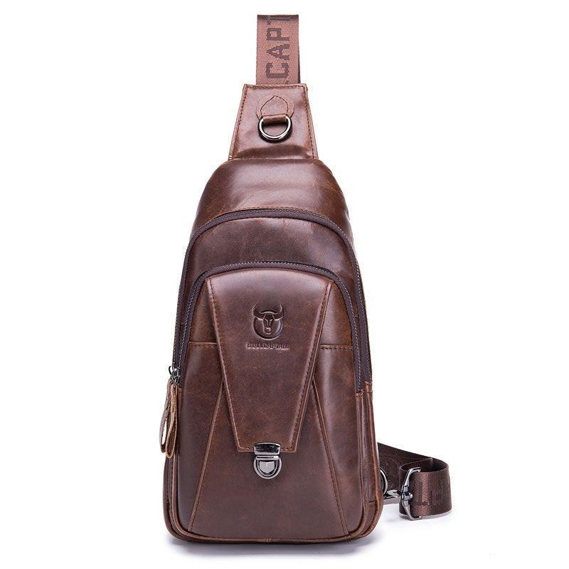 Men's Street style Large Capacity Genuine Leather Chest Bag