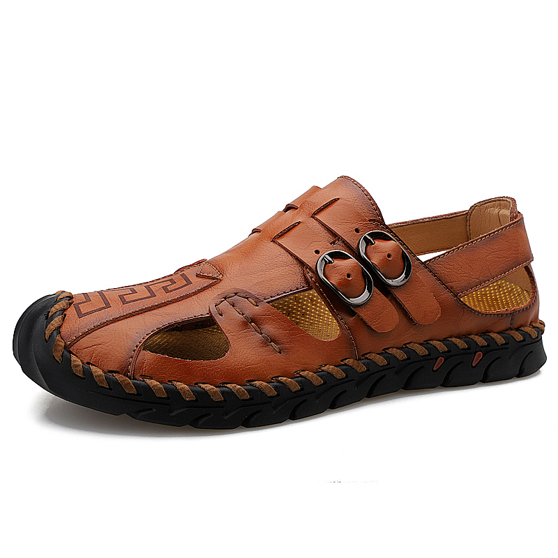 Men's Summer Handmade Closed-toe Leather Sandals