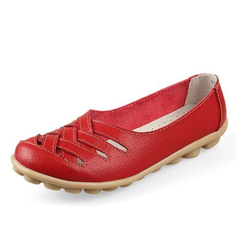 Women's Summer Hollow Breathable Leather Casual Shoes