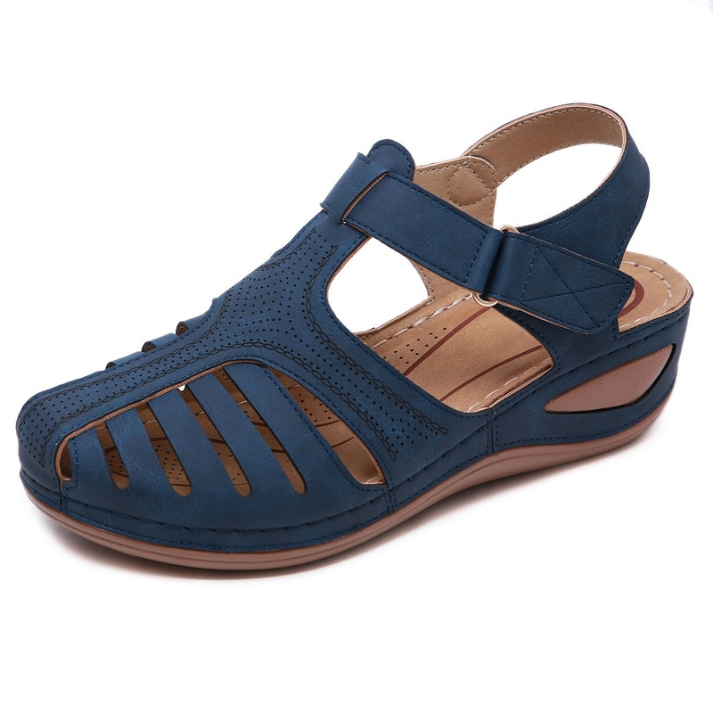 Women's Summer Hollow Out Solid Microfiber Leather Sandals
