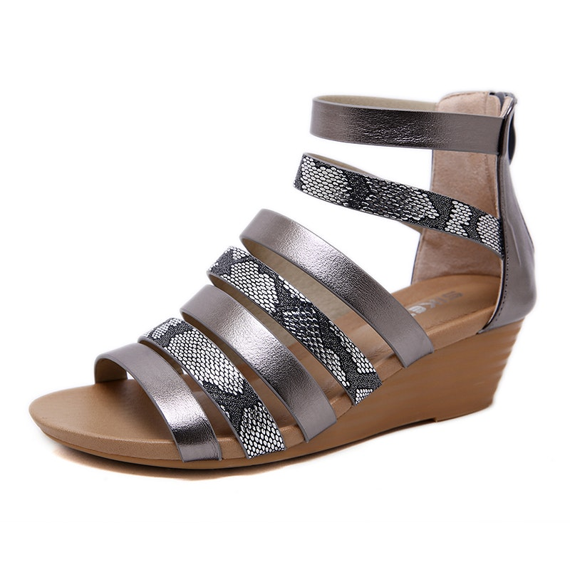 Women's Summer Ankle Strap High Heels Microfiber Leather Sandals