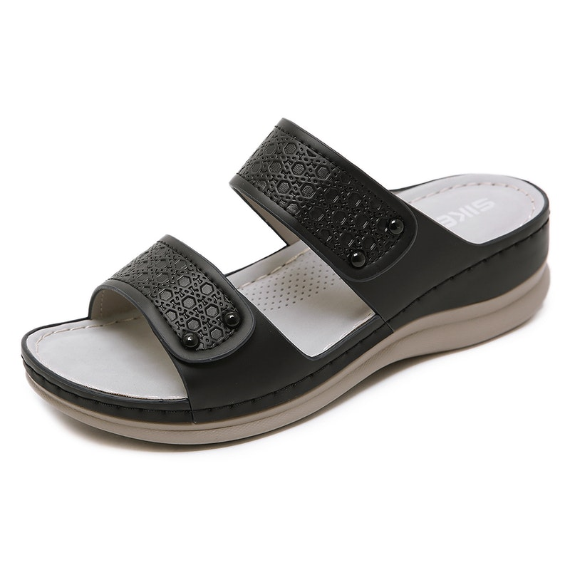 Women's Summer Solid Comfy Microfiber Leather Slipper