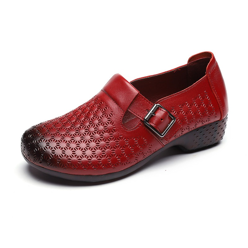 Women's Four Seasons Breathable Buckle Leather Flat Shoes