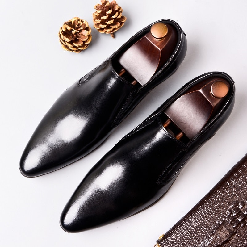 Men's Four Seasons Slip-on Pointed-toe Leather Business Shoes