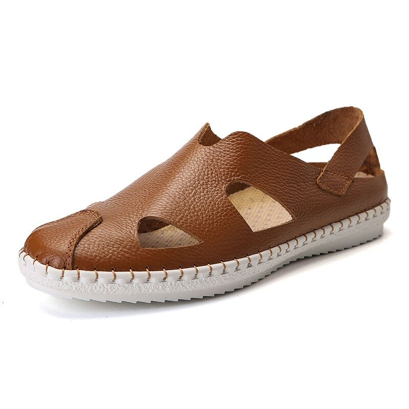 Men Hand Stithcing Cap Toe Slip On Soft Hole Leather Casual Sandals