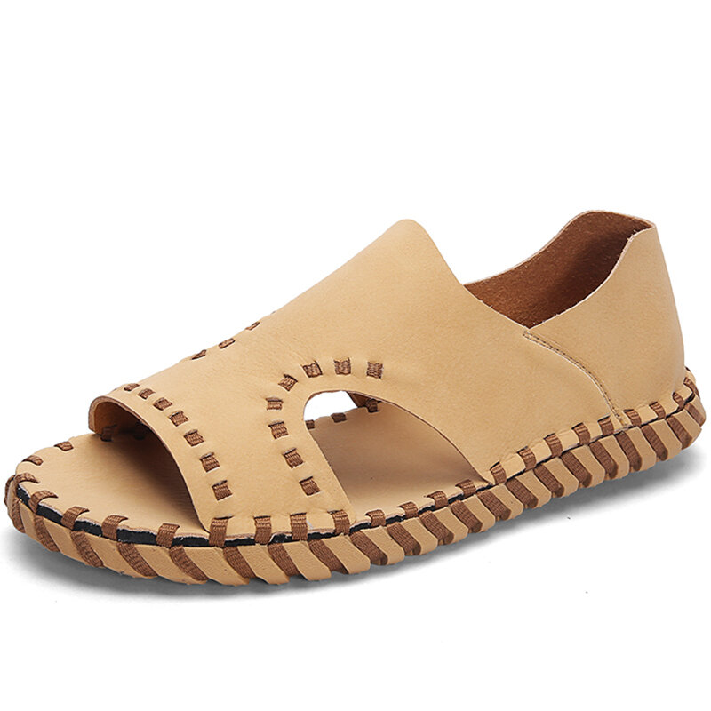 Men Microfiber Leather Hand Stitching Hollow Out Casual Sandals
