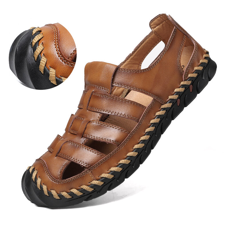 Men Hand Stitching Outdoor Slip Resistant Cow Leather Hole Sandals
