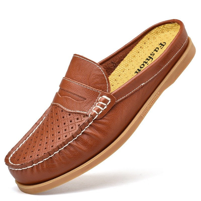 Men Moc Toe Hollow Out Breathable Comfy Leather Backless Loafers