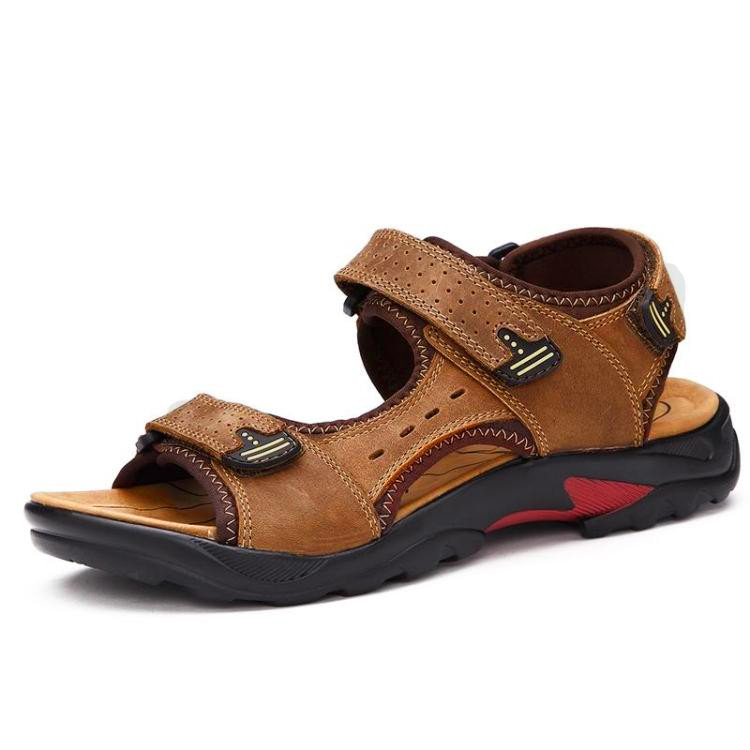 Men Large Size Leather Hook Loop Hollow Out Outdoor Hiking Sandals