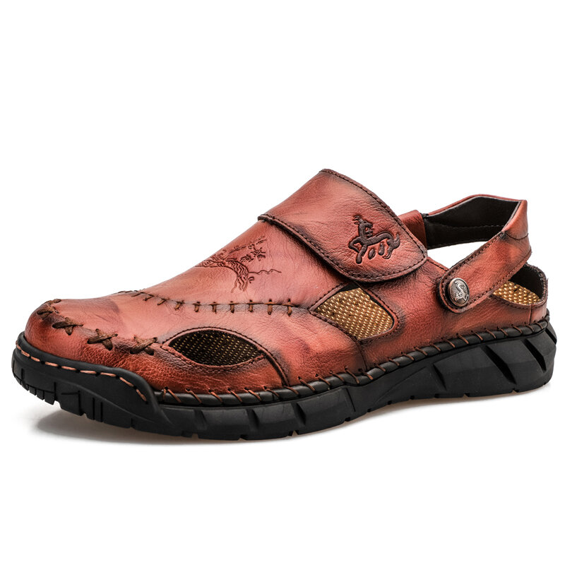 Men Cow Leather Hand Stitching Non Slip Soft Sole Casual Sandals