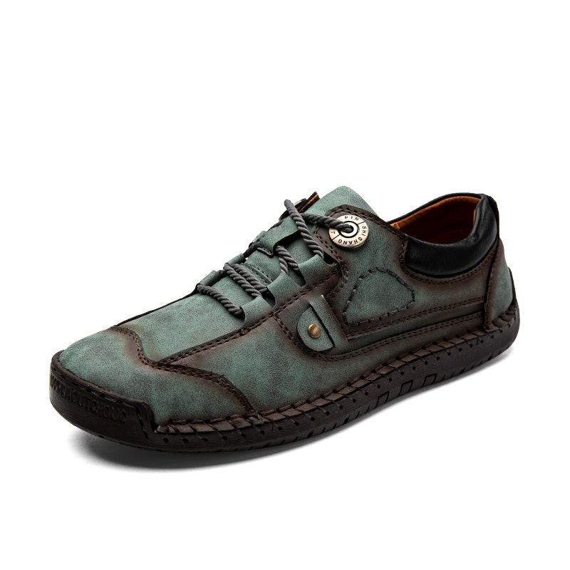 Men Handmade Lace-up Classic Microfiber Leather Casual Shoes