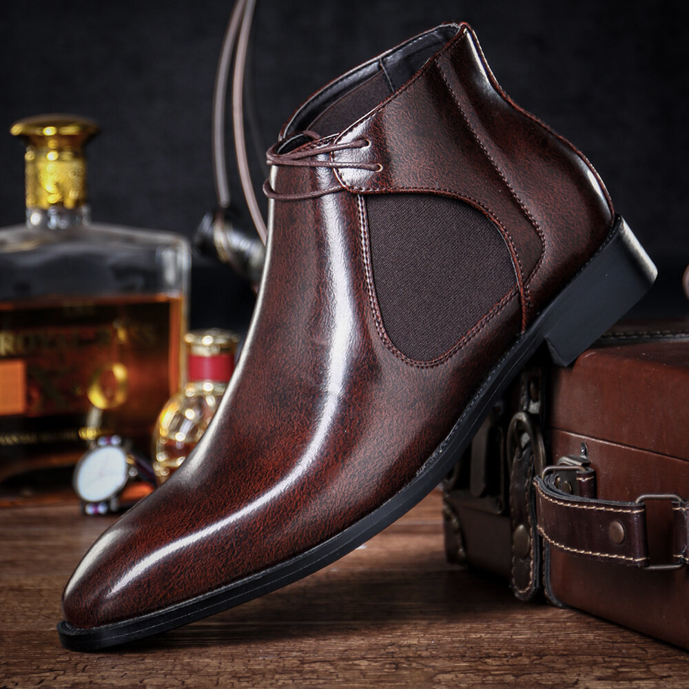 Men Autumn Winter Non Slip Business Casual Leather Ankle Boots