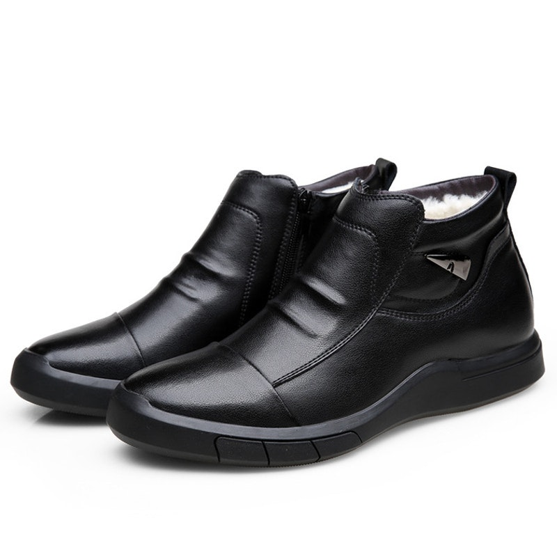 Men Winter Comfy Slip-on Leather Ankle Boots
