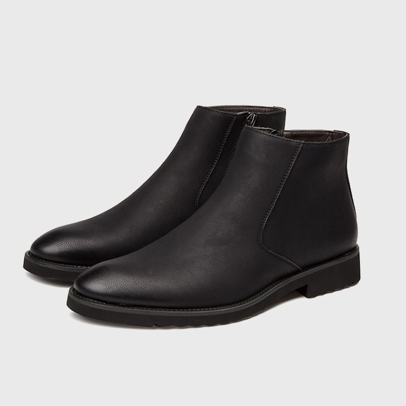 Men Winter Simple Slip-on Microfiber Leather Ankle Boots