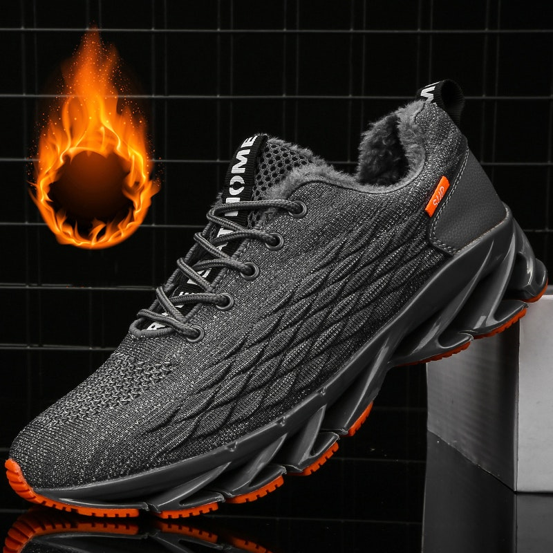 Men's Winter Lace-up Fur-lind Flying Woven Sports Shoes