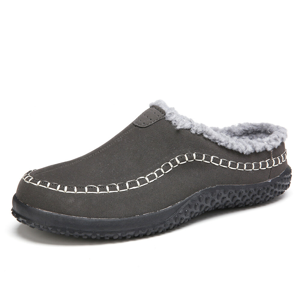 Men Warm Lining Backless Loafers Non Slip Slipper
