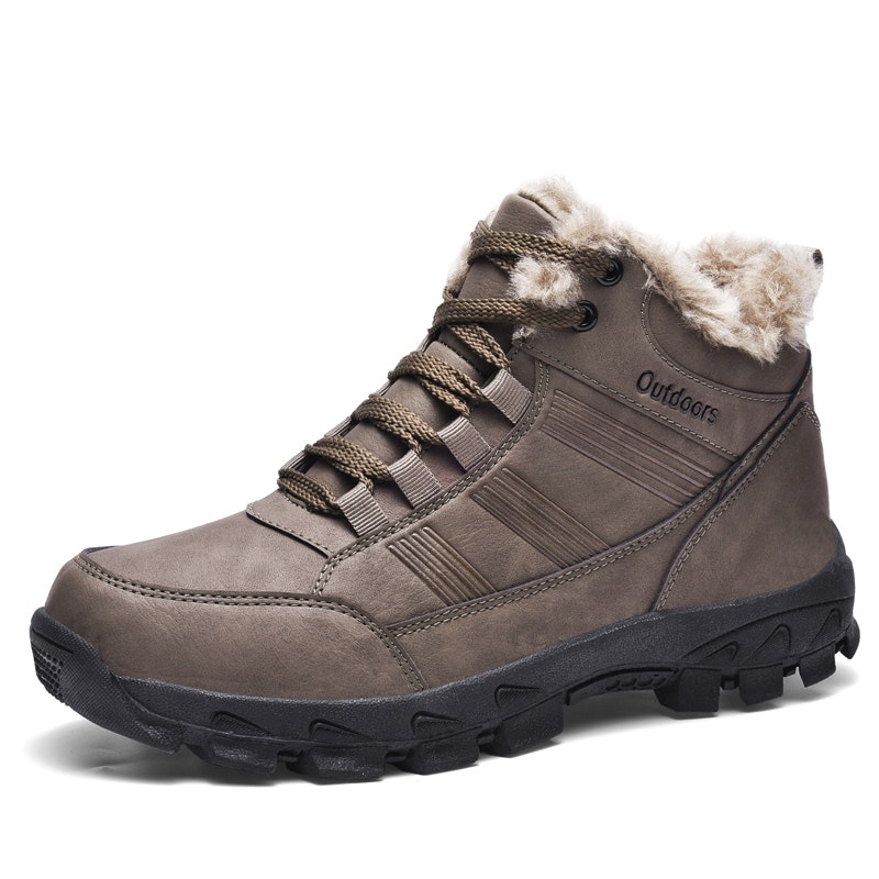 Men Winter Insulated Fur Lined Warm Microfiber Leather Snow Boots