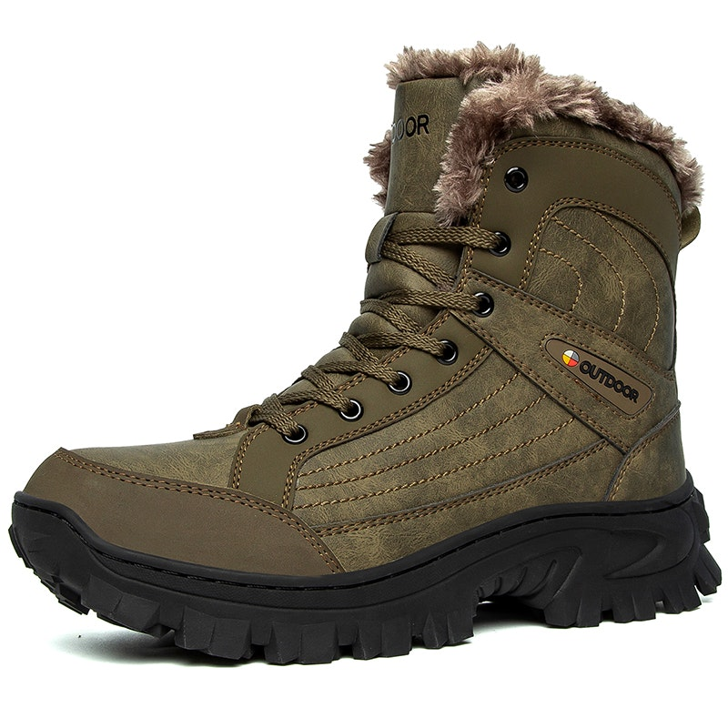 Men Winter Fur Lined Outdoor Leather Hiking Winter Shoes