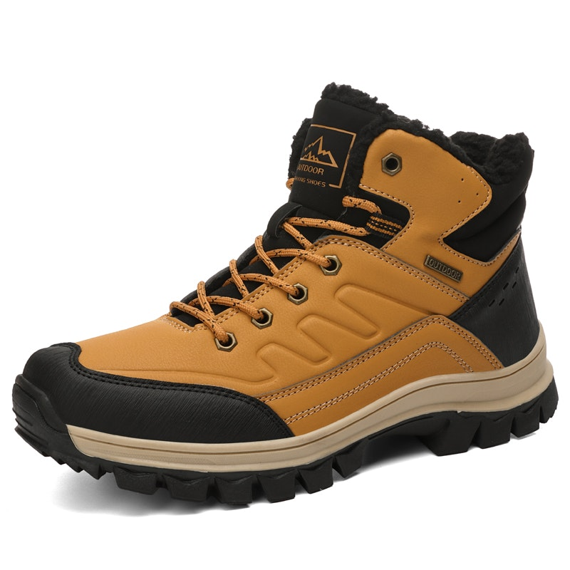 Men Winter Anti-Slip Water Resistant Microfiber Leather Hiking Snow Boots